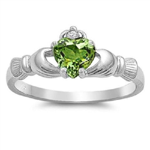 Claddagh Ring 925 Sterling Silver AAA Quality Peridot CZ Heart Promise Ring