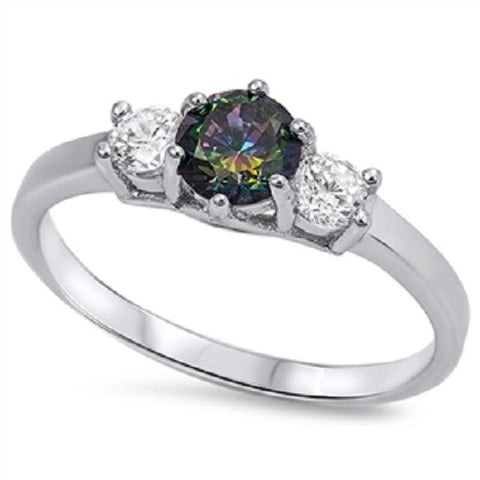 Three Stone Round Mystic Rainbow Topaz Clear CZ Ring