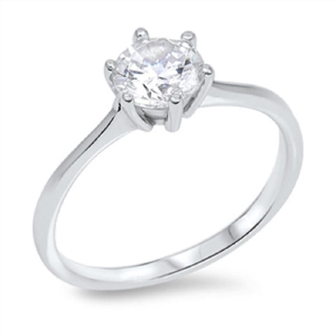 Clear Solitaire CZ Wedding Engagement Anniversary Sterling Silver Ring