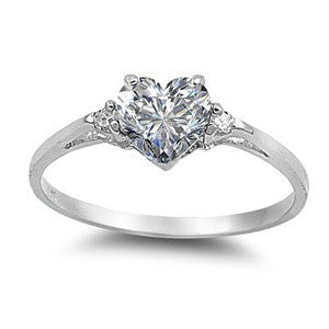 Sterling Silver CZ heart shape Promise love ring
