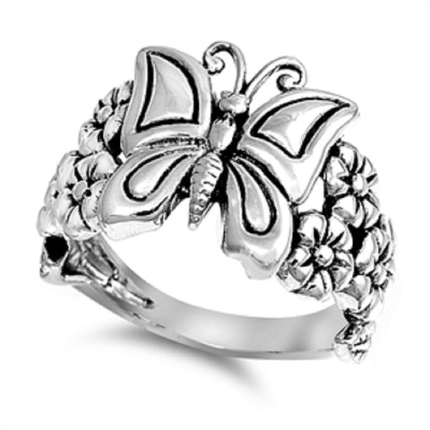Vintage Style 925 Sterling Silver Butterfly and Plumeria Ring