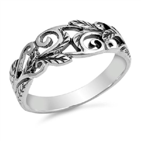 925 Sterling Silver Filigree Leaf Vines Ring