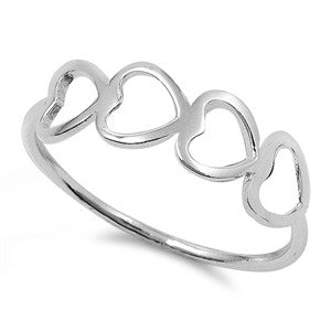 Sterling Silver Four Hearts promise ring