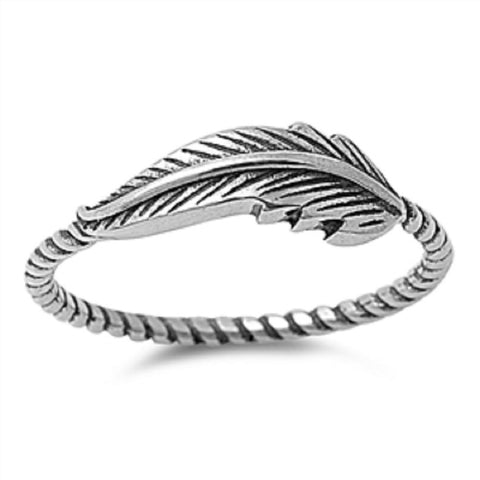 Antique Oxidized 925 Sterling Silver Twist Wire Band Antiqued Feather Ring