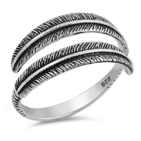 925 Sterling Silver Adjustable Antiqued Feather Ring