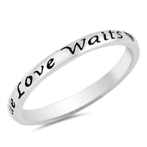 """True Love Waits"" Sterling Silver Ring (2mm)"