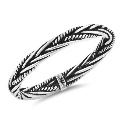 Antique 925 Sterling Silver Bali Rope Braid Eternity Ring