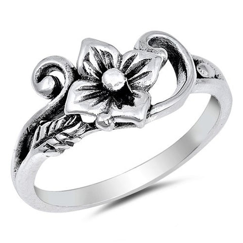 New! Sterling Silver Flower and Vine Ring