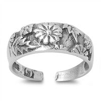 Adjustable Size Toe Ring Solid 925 Sterling Silver Plumeria Flower Toe Ring (6.5mm)