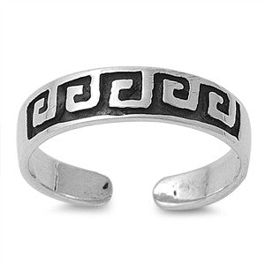 Adjustable Size Toe Ring Solid 925 Sterling Silver Greek Fret Art Design Toe Ring (4mm)