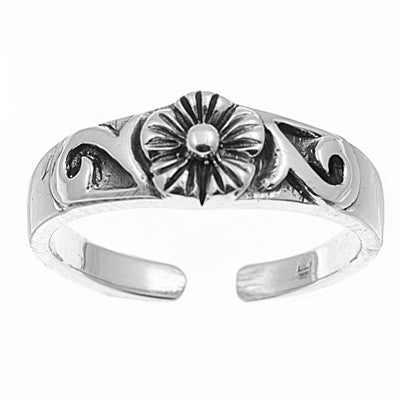 Adjustable Size Toe Ring Solid 925 Sterling Silver Plumeria Flower Toe Ring (6mm)