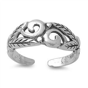 Adjustable Size Toe Ring Solid 925 Sterling Silver Acacia Leaves Filigree Design Toe Ring (6mm)