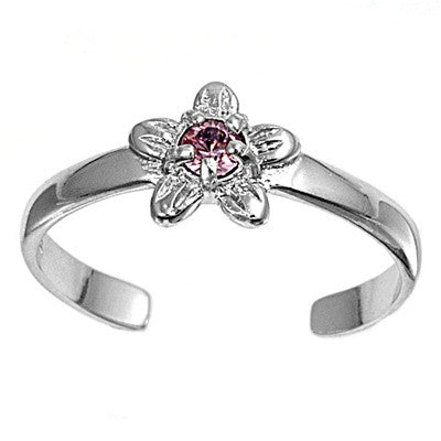 Adjustable Size Toe Ring Solid 925 Sterling Pink CZ Wildflower Toe Ring (7mm)