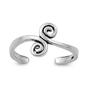 Adjustable Size Toe Ring Solid 925 Sterling Silver Spiral Design Toe Ring (11mm)