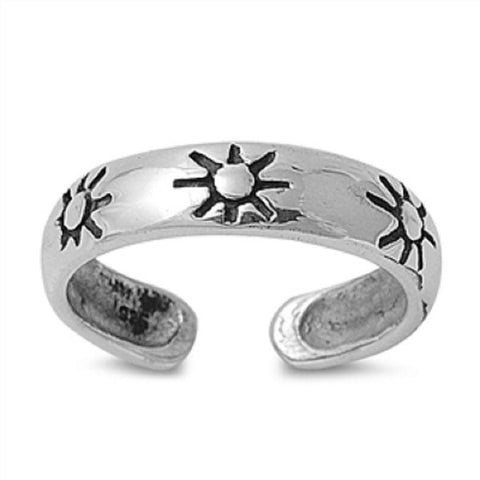 Adjustable Size Toe Ring Solid 925 Sterling Silver Sunrise Design Toe Ring (4mm)