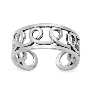 Adjustable Size Toe Ring Solid 925 Sterling Silver Infinity Toe Ring (6mm)