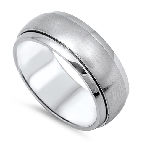 Stainless Steel Spinner Unisex Wedding Band Ring Comfort Fit 8mm