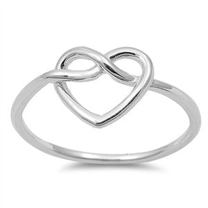 925 Sterling Silver Infinity Love Knot Heart Ring