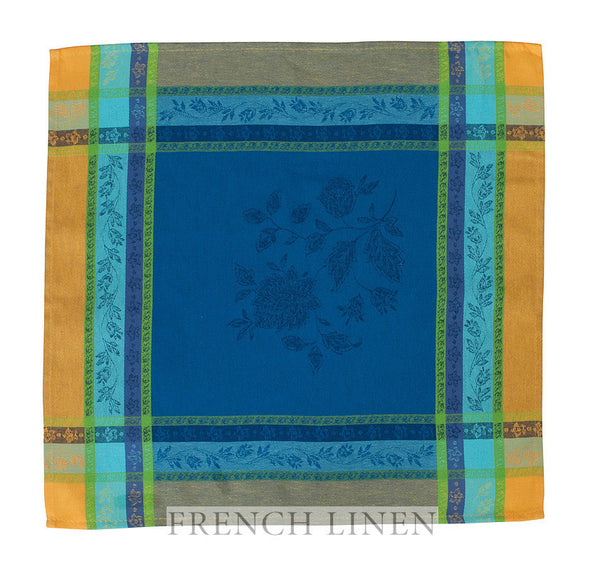 french linen jacquard table napkin in blue