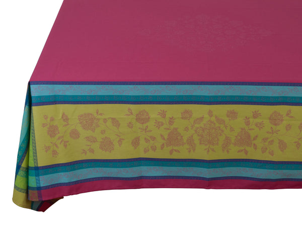 french linen jacquard rectangle tablecloth in fuschia
