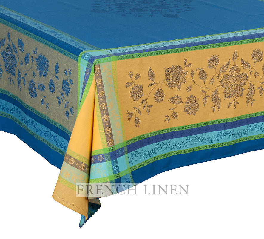 french linen jacquard square tablecloth in blue