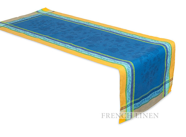 french linen jacquard table runner in blue