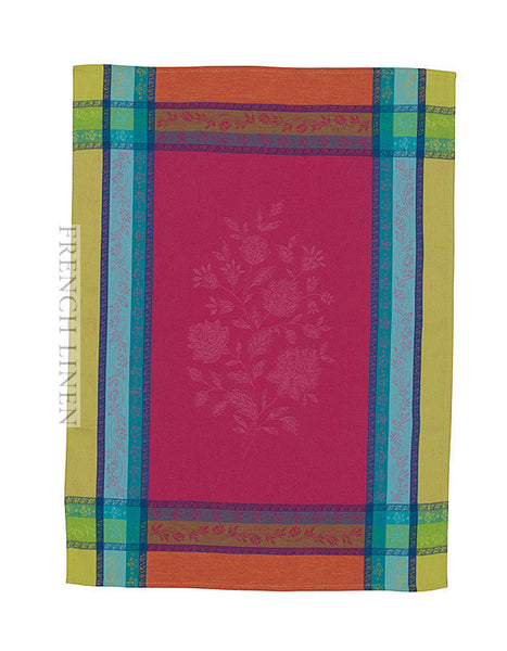 french linen jacquard tea towel in fuschia