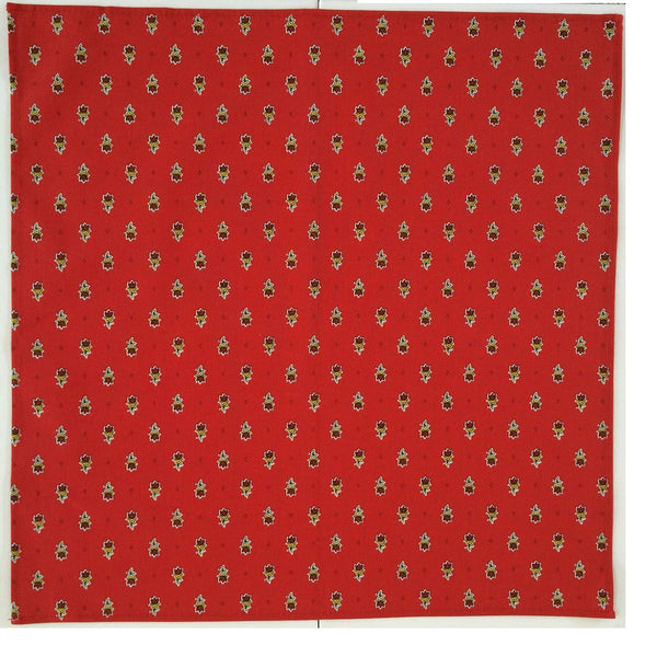 french linen cotton table napkin with avignon design in red
