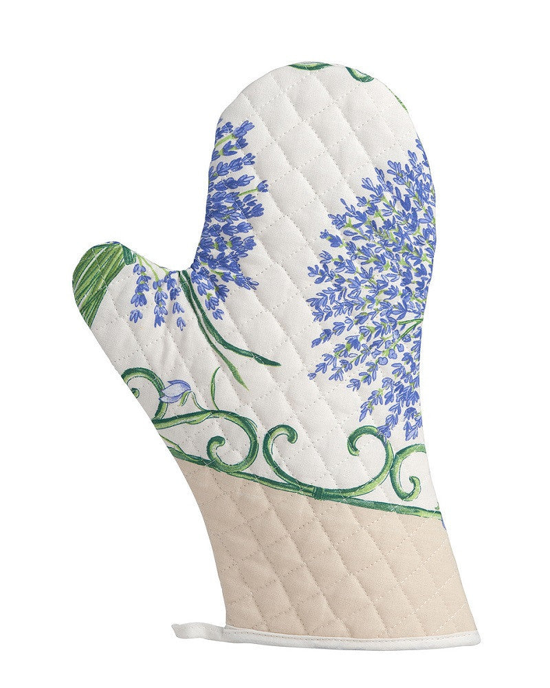 french linen oven glove with lavender design in ecru
