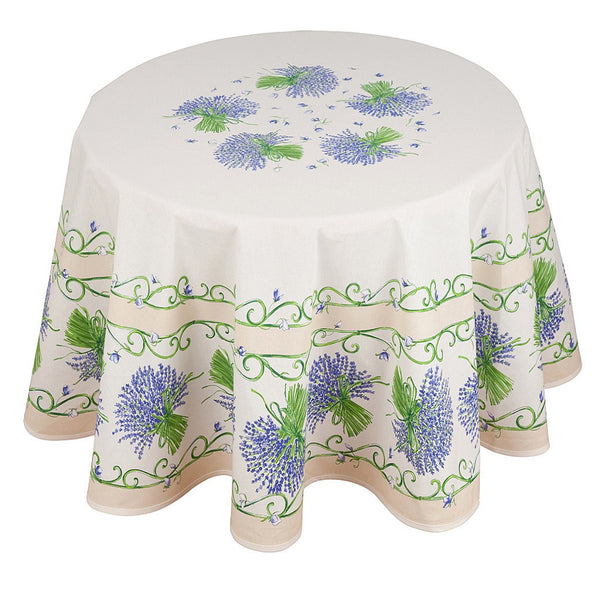 french linen round tablecloth with lavender design in ecru
