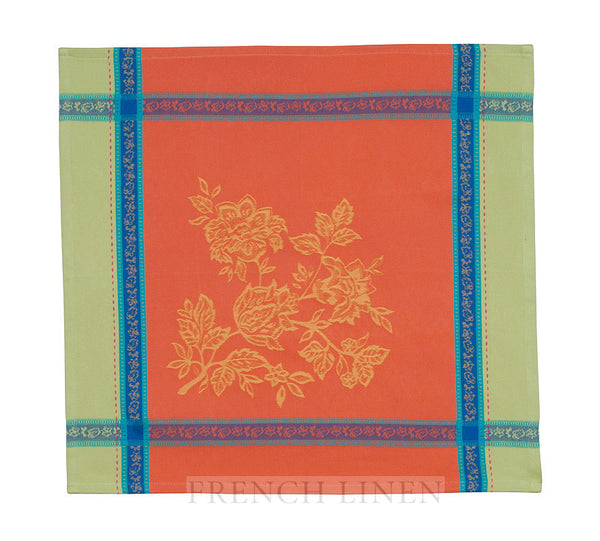french linen jacquard table napkin in rust