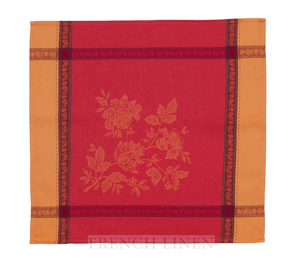 french linen jacquard table napkin in terracotta