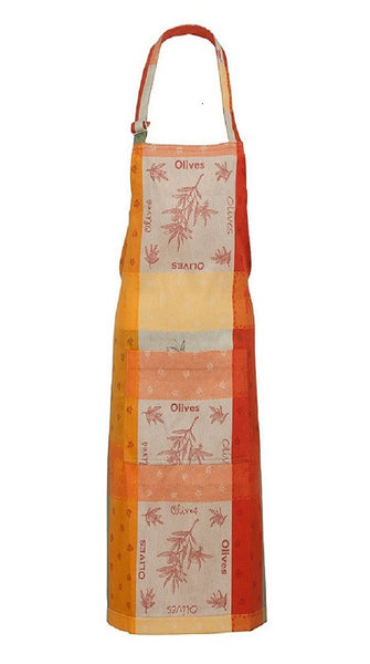 french linen jacquard apron with olive motif in orange