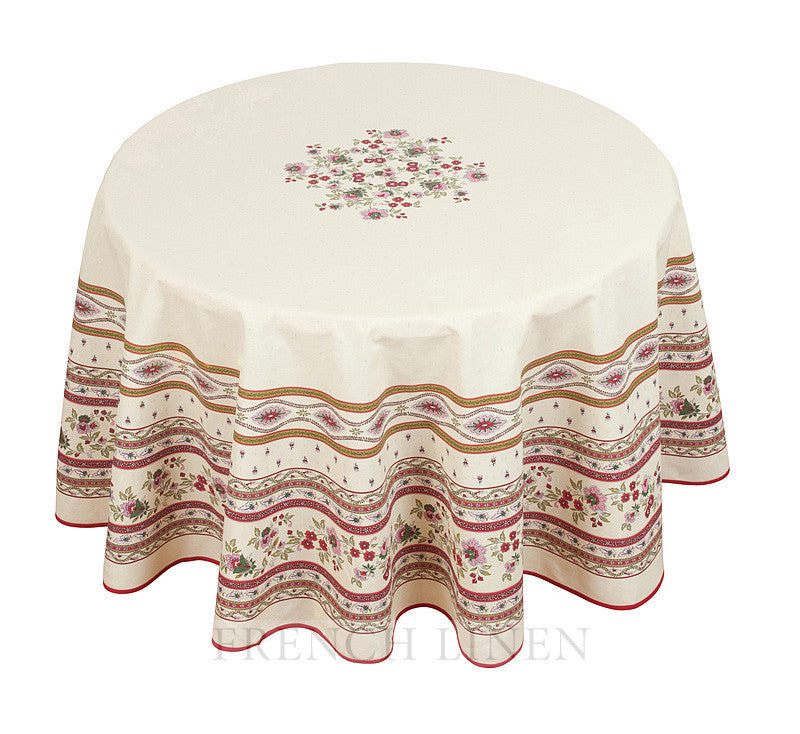 french linen round cotton tablecloth with avignon design in ecru