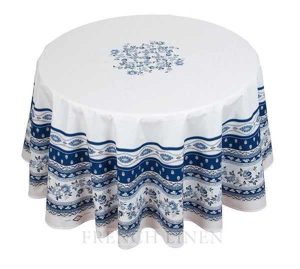french linen round cotton tablecloth with avignon design in white/blue