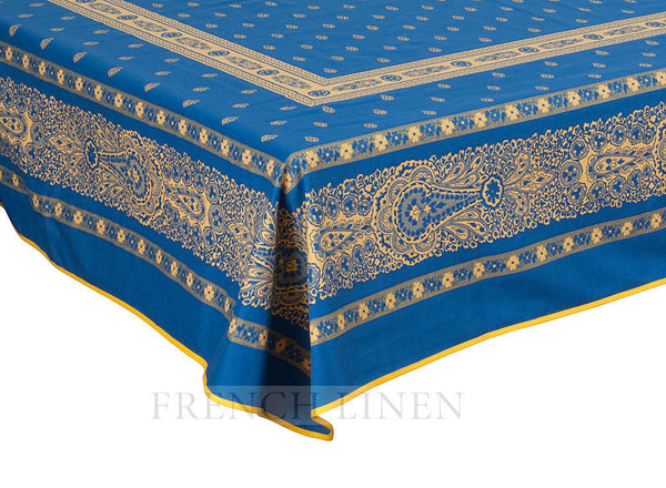 French Linen jacquard tablecloth in Blue/Yellow
