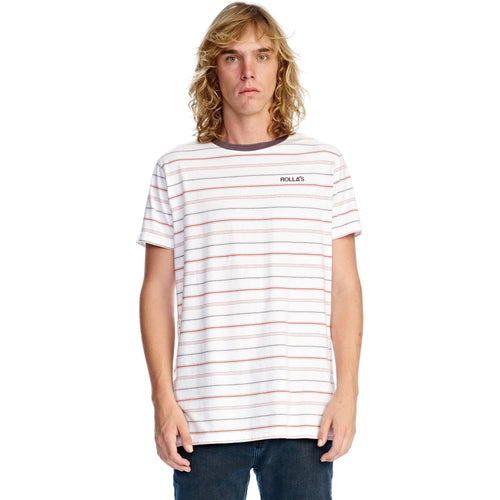 Rollas - old mate tee white/red/black