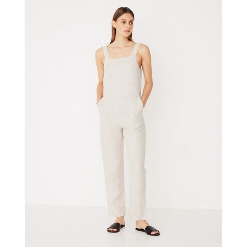 Assembly Label - wide strap linen jumpsuit oat marle