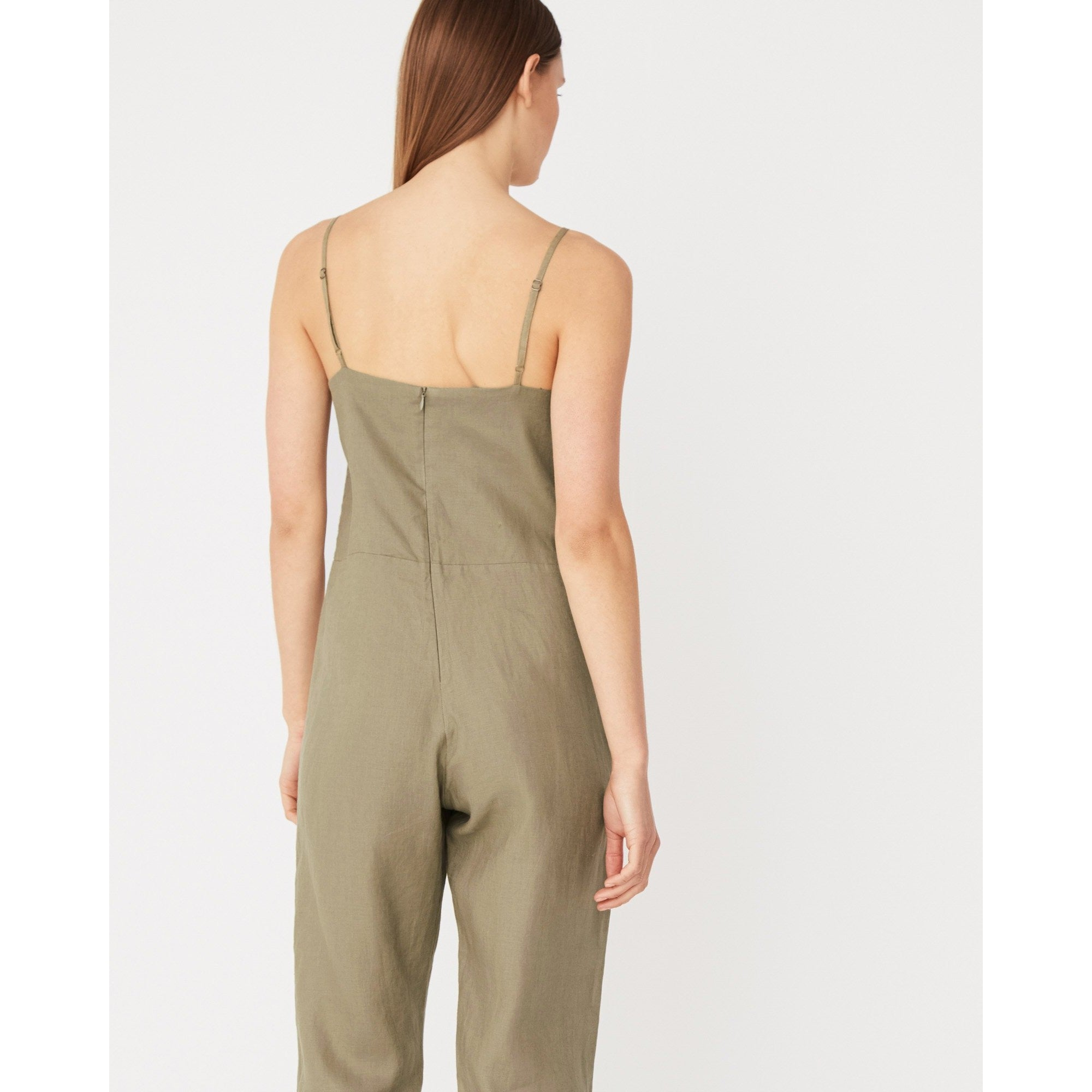 Assembly Label - linen slip jumpsuit olive