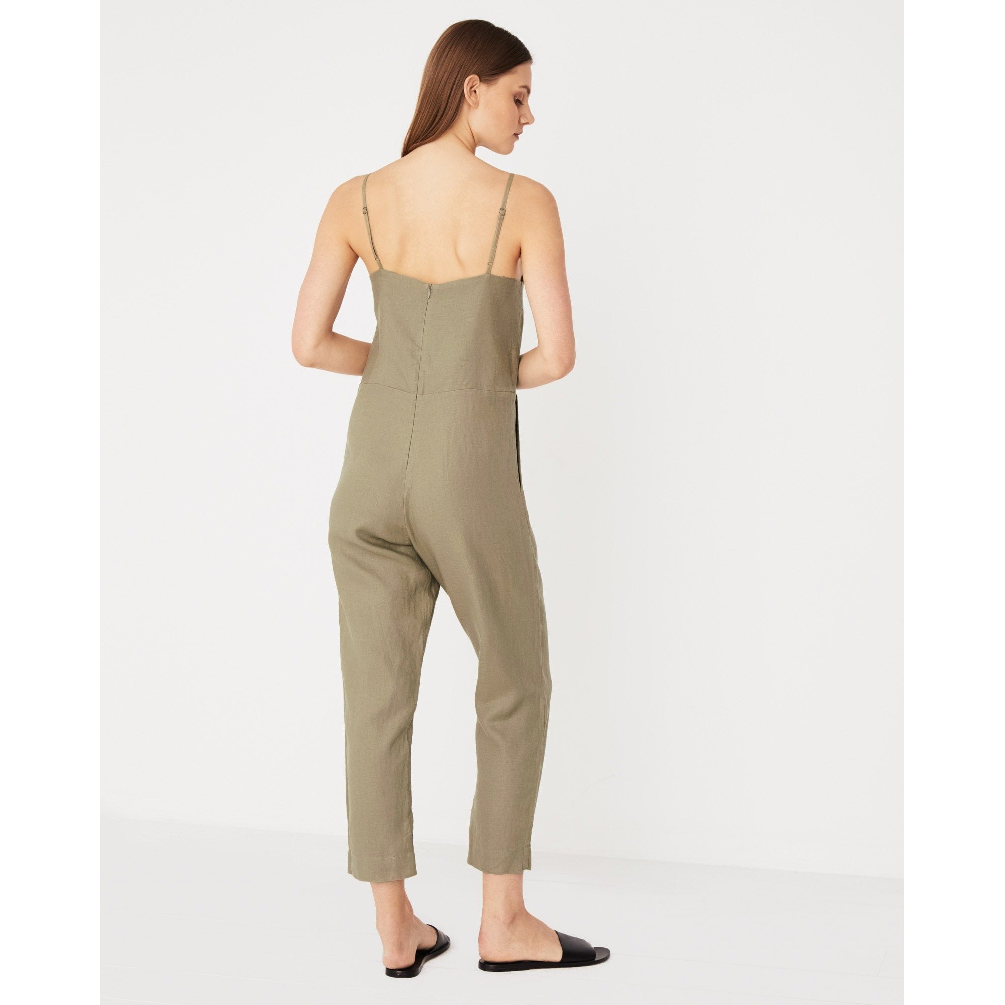 Assembly Label- linen slip jumpsuit olive