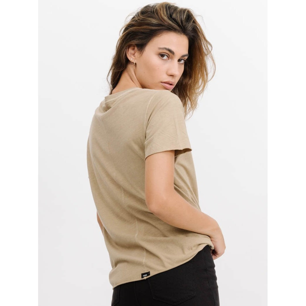 Thrills Co - classic logo loose fit tee tan