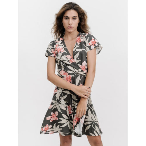Thrills Co - faded jungle wrap dress yardage