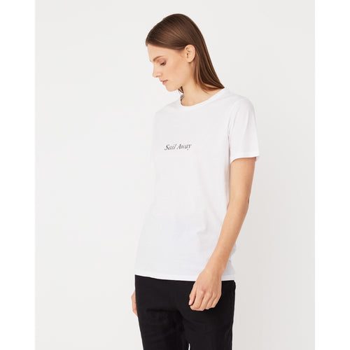 Assembly Label- sail away tee white