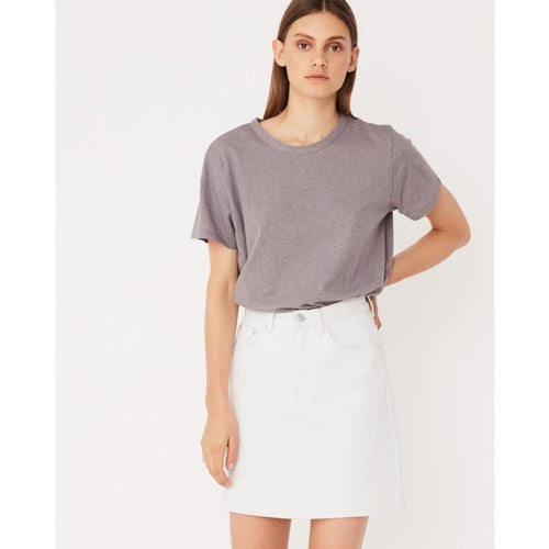 Assembly Label - rigid denim skirt light wash