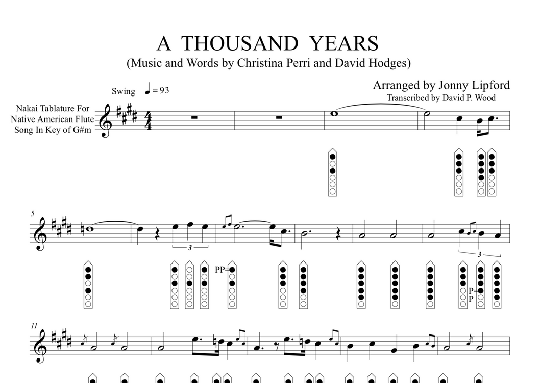 A Thousand Years - Sheet Music for Native American Flute [PDF]