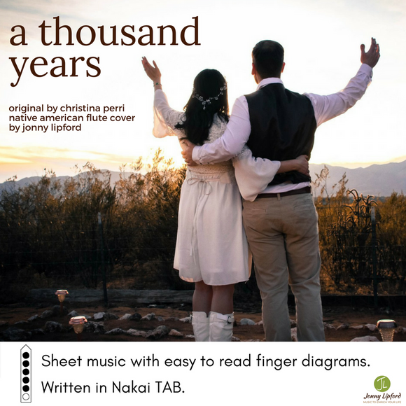 Jonny and his wife facing the sun on their wedding day in Sedona Arizona showcasing the cover art for A Thousand Years by Christina Perri, written in Nakai TAB for Native American Flutes