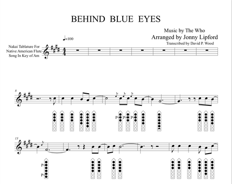 Behind Blue Eyes  - Sheet Music for Native American Flute [PDF]