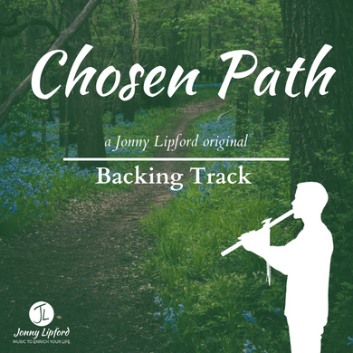 A silhouette of Jonny Lipford standing and playing the Native American flute with the words Chosen Path are the feature image for this Backing Track for Native American Flutes.