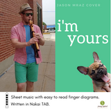 Jonny Lipford playing his Native American flute on a sidewalk in downtown Marion Iowa showcasing the cover art for the sheet music and Nakai Tablature for I'm Yours by Jason Mraz