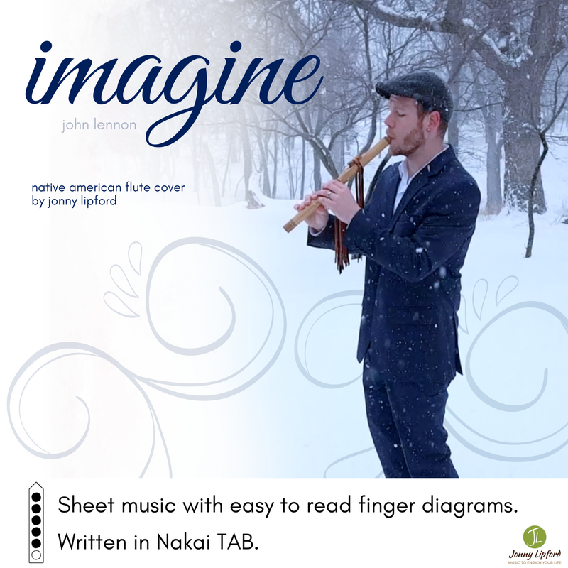 Jonny Lipford playing his Native American flute in the snow. This is the product image for sheet music in Nakai TAB for Imagine by John Lennon.